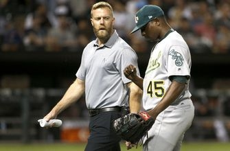 Oakland's Cotton, Pinder leave game because of injuries