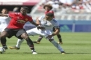 IMAGE DISTRIBUTED FOR INTERNATIONAL CHAMPIONS CUP - Paul Pogba of Manchester United keeps the ball away from a Real Madrid player during the International Champions Cup at Levi's Stadium on Sunday, July 23, 2017, in Santa Clara, Calif. (Tomas Ovalle/A