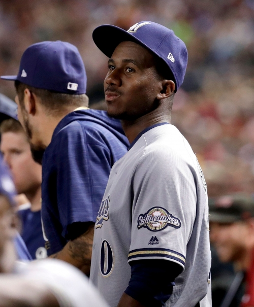 Brewers call up outfielder Lewis Brinson and put right-hander Matt Garza on the 10-day DL