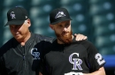 Catcher Jonathan Lucroy scratched from Rockies debut with stomach ailment
