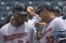 WATCH: Santana drives in two runs, then pitches complete game in win