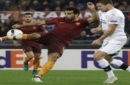 FILE - This is a Thursday, Nov. 24, 2016 file photo of Roma's Mohamed Salah, left, as he tries a shot as Viktoria Pilsen's Jan Kopic opposes him during the Europa League group E soccer match between Roma and Viktoria Pilsen, in Rome's Olympic