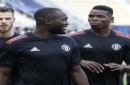 Manchester United's David de Gea, left, Romelu Lukaku, center and Paul Pogba, right, attend a training session at Philip II Arena in Skopje, Macedonia, Monday, Aug. 7, 2017, a day ahead of UEFA Super Cup final soccer match with Real Madrid. (AP Photo/