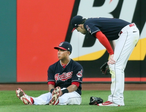 Cleveland Indians crossing their fingers as Michael Brantley gets his right ankle examined