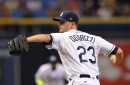 Jake Odorizzi, Tampa Bay starter vs. Boston Red Sox, exits game after line drive to ankle from Eduardo Nunez