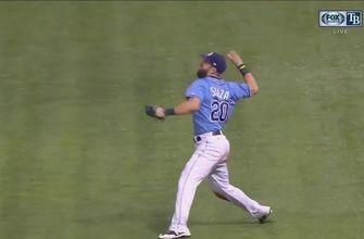 WATCH: Steven Souza Jr. nails Carlos Santana at the plate