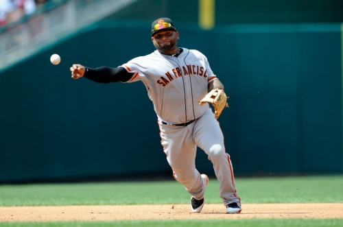 Sandoval's first homer in Giants second act isn't enough as Nationals earn doubleheader split