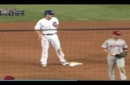 John Lackey Gets Tagged Out At Second Base After A Walk Following First Career Stolen Base