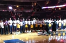 Mystics and Sparks stand together during national anthem to remember Charlottesville terrorist attack victims
