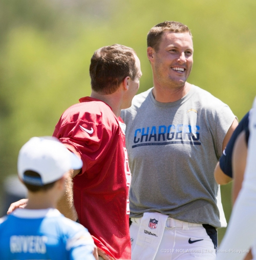 Philip Rivers happy to share practice field with Drew Brees for first time since 2005