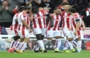 Stoke's Jese, 3rd right, celebrates with team mates after scoring during the English Premier League soccer match between Stoke City and Arsenal at the Bet365 Stadium in Stoke on Trent, England, Saturday, Aug. 19, 2017. (AP Photo/Rui Vieira)