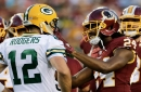 Aaron Rodgers admirer Josh Norman takes a break with Packers quarterback