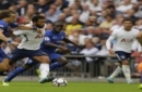 Tottenham Hotspur's Mousa Dembele, second left, vies for the ball with Chelsea's David Luiz during their English Premier League soccer match between Tottenham Hotspur and Chelsea at Wembley stadium in London, Sunday, Aug. 20, 2017. (AP Photo/Alast
