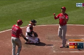 WATCH: Simba gets it done at the plate, with his glove in Angels 5-4 win over Orioles
