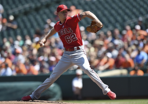 Angels' Parker Bridwell grinds through his second outing against Orioles