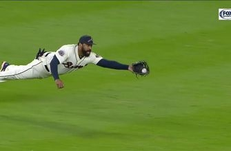 Watch Matt Kemp pull off his best Superman impression in the outfield
