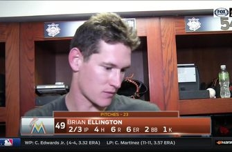 Brian Ellington reacts to his rough 8th inning against the Brewers