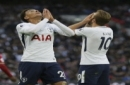 Tottenham's Dele Alli, left, and Tottenham's Harry Kane look dejected after missed chances during the English Premier League soccer match between Tottenham Hotspur and Swansea City at Wembley stadium in London, Saturday Sept. 16, 2017. (AP Photo/T