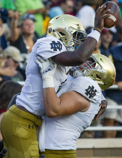 Notre Dame O-line responds to challenge in record-setting win over Eagles