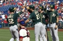 Wendle's grand slam lifts Athletics to 6-3 win over Phillies (Sep 17, 2017)