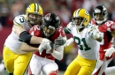 The Packers are without both starting tackles against the Falcons