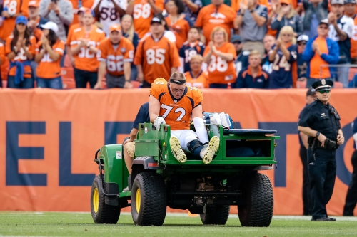 Garett Bolles seen in boot after Broncos' win, will have MRI on Monday