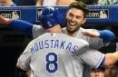 Moustakas hits historic homer, Royals stomp Blue Jays 15-5
