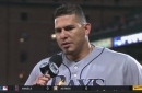 Wilson Ramos reacts to Friday's win after his productive night