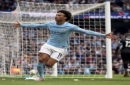 Manchester City's Leroy Sane celebrates scoring his side's first goal of the game, during the English Premier League soccer match between Manchester City and Crystal Palace, at the Etihad Stadium, in Manchester, England, Saturday, Sept. 23, 2017.