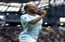 Manchester City's Raheem Sterling celebrates scoring his side's second goal of the gam, during the English Premier League soccer match between Manchester City and Crystal Palace, at the Etihad Stadium, in Manchester, England, Saturday, Sept. 23,