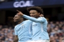 Manchester City's Raheem Sterling, left, celebrates scoring his side's second goal of the game with teammate Leroy Sane, during the English Premier League soccer match between Manchester City and Crystal Palace, at the Etihad Stadium, in Mancheste