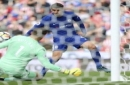 Chelsea's Alvaro Morata scores his side's third goal of the game during the English Premier League soccer match between Stoke City and Chelsea at the bet365 Stadium, Stoke-on-Trent, England, Saturday, Sept. 23, 2017. (Nigel French/PA via AP)