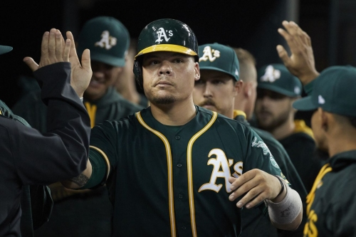 Bruce Maxwell kneels for national anthem before Oakland A's game