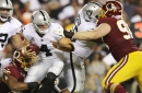 Raiders offensive line opens wide for Washington in 27-10 loss