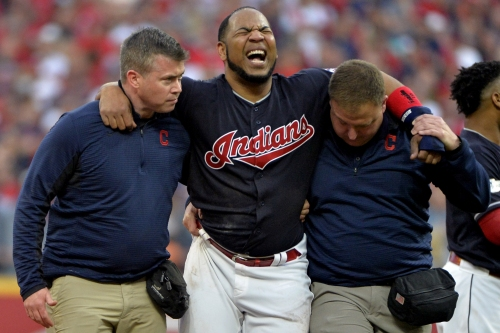 Indians' Encarnacion exits game with gruesome ankle injury