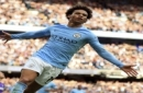 Manchester City's Leroy Sane celebrates scoring his side's sixth goal of the game during the English Premier League soccer match between Manchester City and Stoke City at Etihad Stadium, Manchester, England, Saturday, Oct. 14, 2017. (Mike Egerton/