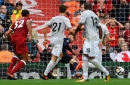 Liverpool defender Joel Matip reacts to THAT save by Manchester United 'keeper David de Gea