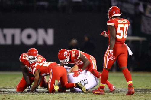 Andy Reid indicates Marcus Peters' hit on Derek Carr was fine