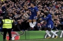Chelsea's Cesar Azpilicueta, left, celebrates scoring his side's third goal of the game with teammate Tiemoue Bakayoko during the English Premier League soccer match between Chelsea and Watford at Stamford Bridge Studium, London. Saturday Oct. 21,