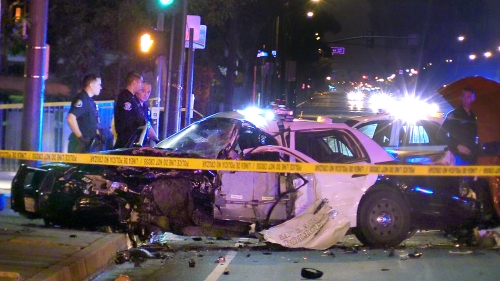 Man arrested on suspicion of DUI after pickup crashes into Santa Ana police vehicle