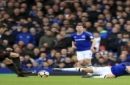 Arsenal's Granit Xhaka, left, and Everton's Nikola Vlasic battle for the ball during the English Premier League soccer match against Arsenal at the Goodison Park, Liverpool, England, Sunday Oct. 22, 2017. (Peter Byrne/PA via AP)