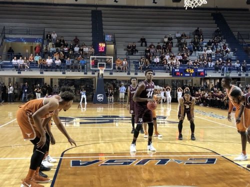 Aggies, Longhorns play heated exhibition basketball game to help Harvey victims