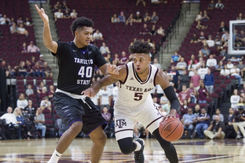 Aggie men's basketball team suspends three players, wins exhibition over Tarleton State