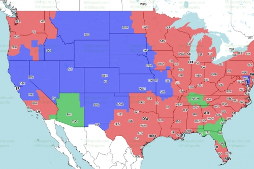 Broncos at Raiders: TV broadcast map (CBS)