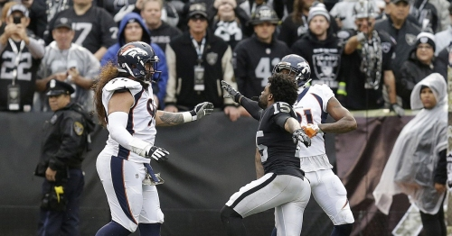 Watch: Marshawn Lynch plays peacekeeper in Raiders-Broncos brawl