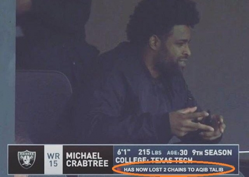 CBS shows hilarious stat about Michael Crabtree and Aqib Talib