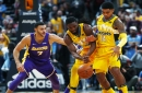 Short-handed Denver Nuggets pull away late from Los Angeles Lakers