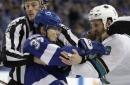 Sharks' Thornton fined for slashing Lightning's Johnson