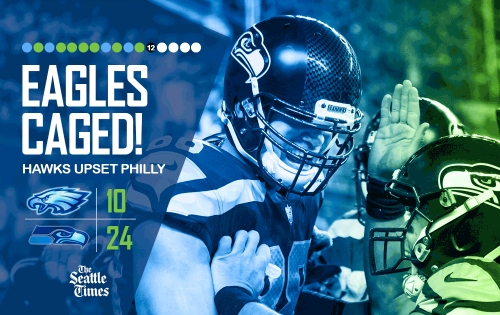 Seattle sports world reacts as Russell Wilson turns in MVP-caliber performance and Seahawks ground Eagles