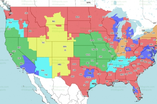 Jets at Broncos: TV broadcast map (CBS)